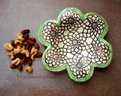 Lace Serving Dish, Decorative Keepsake Bowl, Flower Shape Stoneware, Yellow, Green or Red, Rustic Style