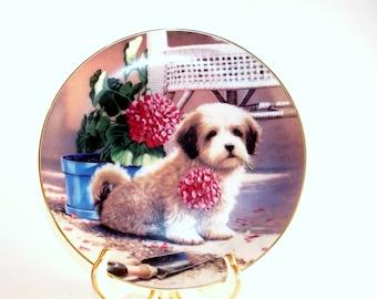"1989 Jim Lamb Puppy Playtime ""Weekend Gardener"" Collector Plate"