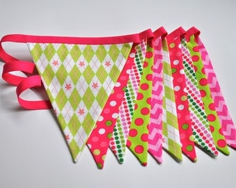 Pink & green girls fabric banner bunting, birthday party decoration, photo prop, girls room dorm decor