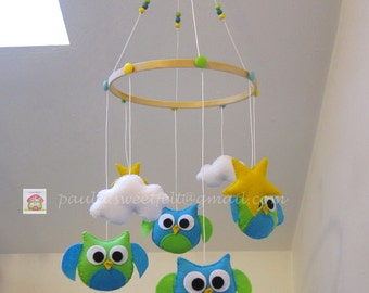 Baby crib felt mobile Owls turquoise/ green