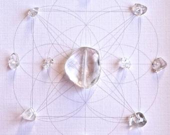 QUARTZ -- CRYSTAL GRID--- framed crystal grid with sacred geometry
