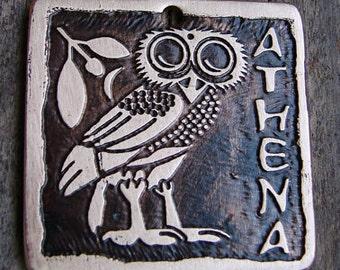 Dog ID Tag, Owl of Athena, Custom Pet ID Tag, 1.25 inch Square