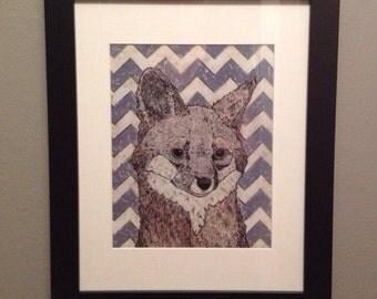 Unframed reproduction print- pencilpress fox