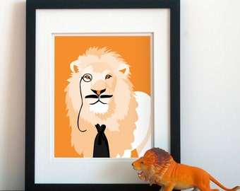 dapper jungle lion safari animal art, funny childrens art, lion with mustache childrens art animals with mustaches lion funny nursery art