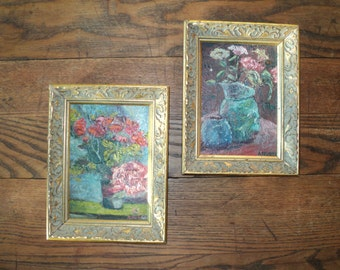 2 Exquisite Original Oil Paintings, Impressionistic Still Life Compositions signed by The Artist A. Hurst, great texture and composition