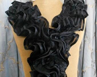 Black Ruffle Applique