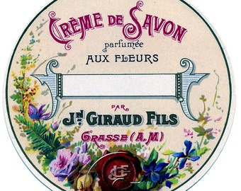 Antique Vintage French Soap Cosmetics Label Digital File Printable Print