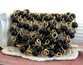 Rosary Chain, Beaded Chain, Black Bead Chain Black Rosary Chain, Bead Chain, Jewelry Chain, Brass Chain, Chain   CHN-102