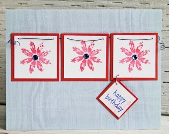 Blue Birthday Card With Three Red Flowers, Happy Birthday, Handmade Notecard, Birthday Wishes and Greetings