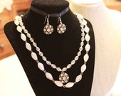 SET: Layered Vintage Bead Necklace with Matching Silver Rhinestone Pendant Earrings