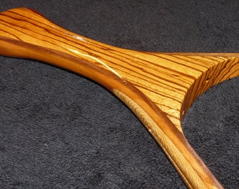 Landing net for trout fishing: zebra wood handle; walnut, cherry, and quarter-sawn sycamore hoop