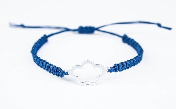 Cloud Flower Friendship Bracelet, Cloud Bracelet, Navy Blue Adjustable Cotton Cord Bracelet Cute, gift for him, gift for her
