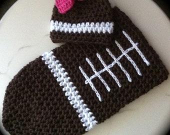 Football Cocoon & Hat Set ~Custom Cocoon~ Boy or Girl ~Custom Colors~Football Baby Cocoon~ Baby Sack~ Football Sleeping Bag~Photo Prop