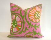 Designer Pillow Cover, Decorative, Throw. 16x16 inch, Suzani Pinks, kiwi green, tangerine