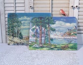 Vintage Oil Paintings / Amateur Oil Painting  / 1940's Paintings / Landscape / Set of 2 / Rustic Cabin / Mountain Lodge Decor