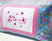 Peresonalized Pillow Teal Embroidered Name Pillow Cover -Three Sisters - Girls Room decor Dorn Decor Graduation  Birthday Gift, Spring