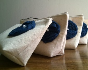 9 - Navy Bridesmaid Clutch Purses, Linen, Nautical, Bridesmaids Gift, Summer Beach Wedding