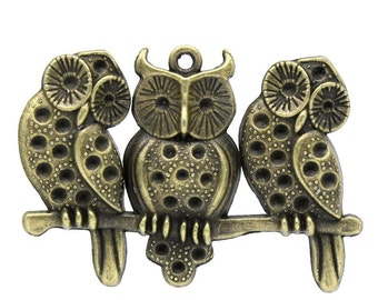 5 Bronze Owl Pendants - WHOLESALE - Antique Bronze - LARGE - Holds ss8 Rhinestone - 57x40mm - Ships IMMEDIATELY  from California - BC652a