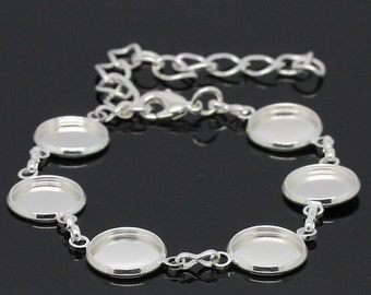 """Cabochon Bracelet Silver (Holds 12mm) - 18cm - 7 1/8""""  - Ships IMMEDIATELY from California - CH340"""
