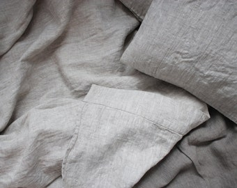 Natural Rustic Heavy Weight Softened Linen Top Sheet Cover Queen Natural Color - Custom size