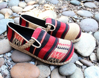 Womens Shoes, Tribal Naga Woven Cotton Vegan Loafers Red Tan Black - Casey