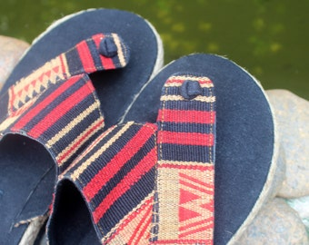 Vegan Men's Sandals in Tribal Naga Embroidered Cotton Flip Flops - Novak