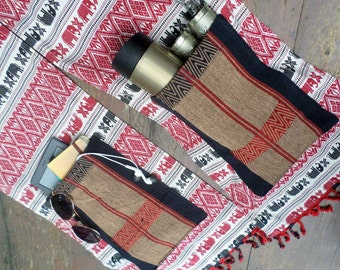 Mens Scarf With Pockets Tribal Naga Embroidery And Fringe On Elephant Print