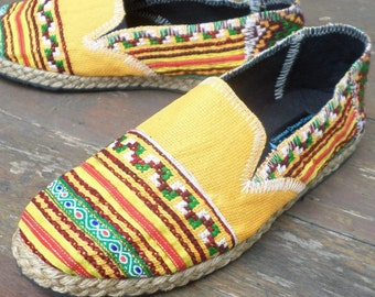 Vegan Womens Espadrilles Yellow Hmong Embroidered Loafers - Morgan