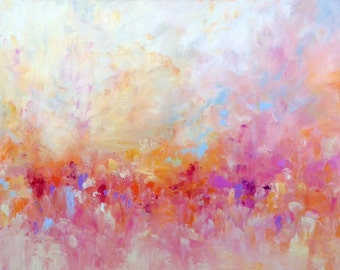"Abstract Landscape 'Feeling Groovy' - acrylic painting on canvas - size 100cm x 50cm (40"" x 20"")"