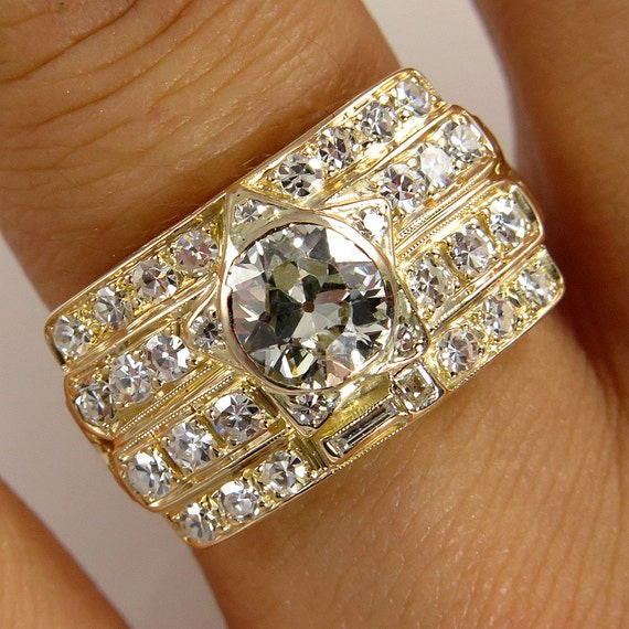 Art Deco Unique Diamond Wedding Ring 14k Two Tone Gold: Items Similar To Reserved..Wide 1.62ct Vintage Late Art