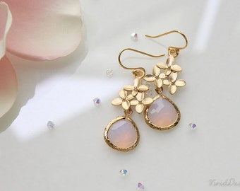 Cherry Blossom Earrings, Violet Opal Earrings, October Birthstone