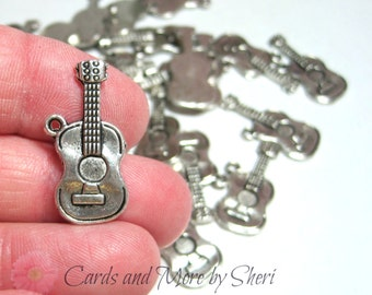 Antique Silver Guitar Charms (10)