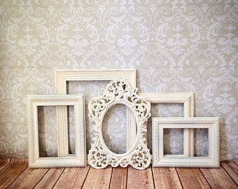 Shabby Chic PICTURE FRAMES vintage white wedding reception nursery home PHOTO frame