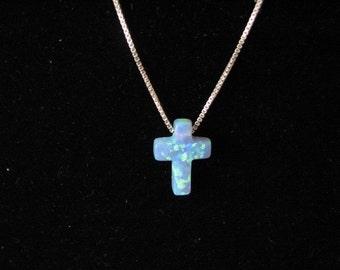 Blue Opal Cross Necklace on fine Sterling Silver Chain, Pretty Dainty Charm