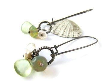 Long Gemstone Earrrings Gemstone Earrings Long Cluster White Topaz Earrings Topaz Earrings Czech Glass Bohemian Boho Beach Trends Gift Idea