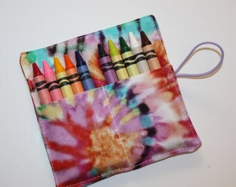 Crayon Rolls, Tie Dye Crayon Roll holds up to 10 Crayons,  Birthday Party Favors, Crayon Rolls