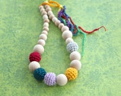 Simple nursing necklace. Teething necklace. Girls crochet necklace.