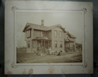 Antique Photograph - Victorian Home with Family