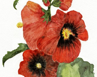 Hollyhocks Giclee print