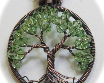 Birthstone Crystal, Antique Copper Peridot Swarovski Crystal Tree of Life, Every Birthstone Month Available
