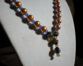 Blue and Tan Pearl and Glass Etched Flower Necklace