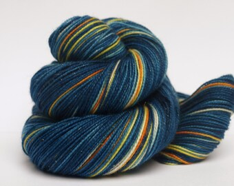 The Original Starry Night, Sparkle Sock, Hand Dyed Fingering/Sock Yarn, Vincent and the Doctor