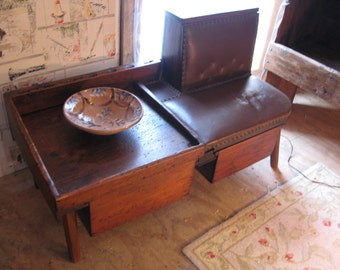 Amazing Primitive Cobbler's Bench with Leather Seat