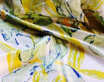 Vintage Silk CHRISTIAN DIOR Floral Scarf with Bright Yellow and Green Tones