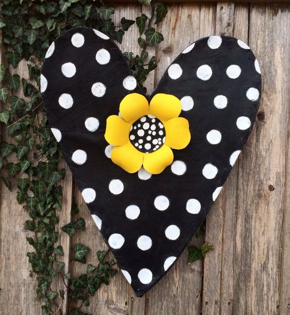 Black and White Polka Dot Heart with Yellow Sunflower Screen Door Hanger Wreath