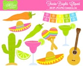 50% OFF Fiesta Clipart - Party Clipart - Mexican Fiesta Clip Art - Personal and Commerical Use