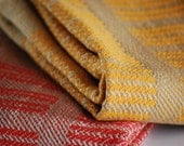 Handwoven Tea or Kitchen Towel Curry Stone Matchstick Lines