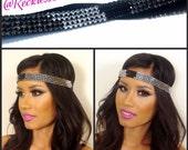 Not So Innocent, R.A. Black & Silver CZ stretch Headband