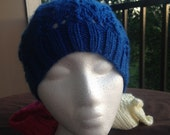 Knitted Blue Lace Slouchy Beanie