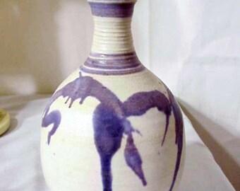 Original Marjorey Bankson Purple Pottery Vase/ Listed Artist